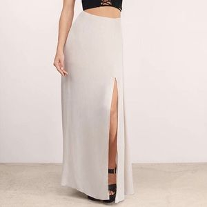 Tobi Split in Two Taupe Maxi Skirt with Side Slit